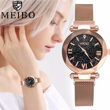 Women Mesh Magnet Buckle Starry Sky Watch Luxury Ladies Geometric Surface Roman Numeral Quartz Wrist Watches Relogio Feminino