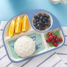 Cartoon Baby Food Bamboo Fiber Innovative Compartments Asymmetric Children Baby Feeding Tableware