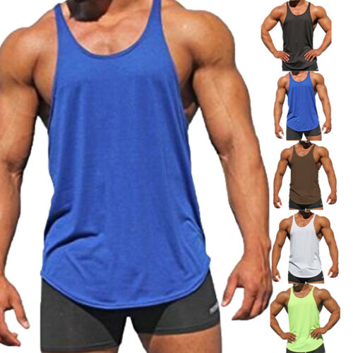 2019 New Mens Muscle   Tank     Top   Shirts Cotton Sleeveless Gym Tee Workout Casual   Top   Clothes Wholesale
