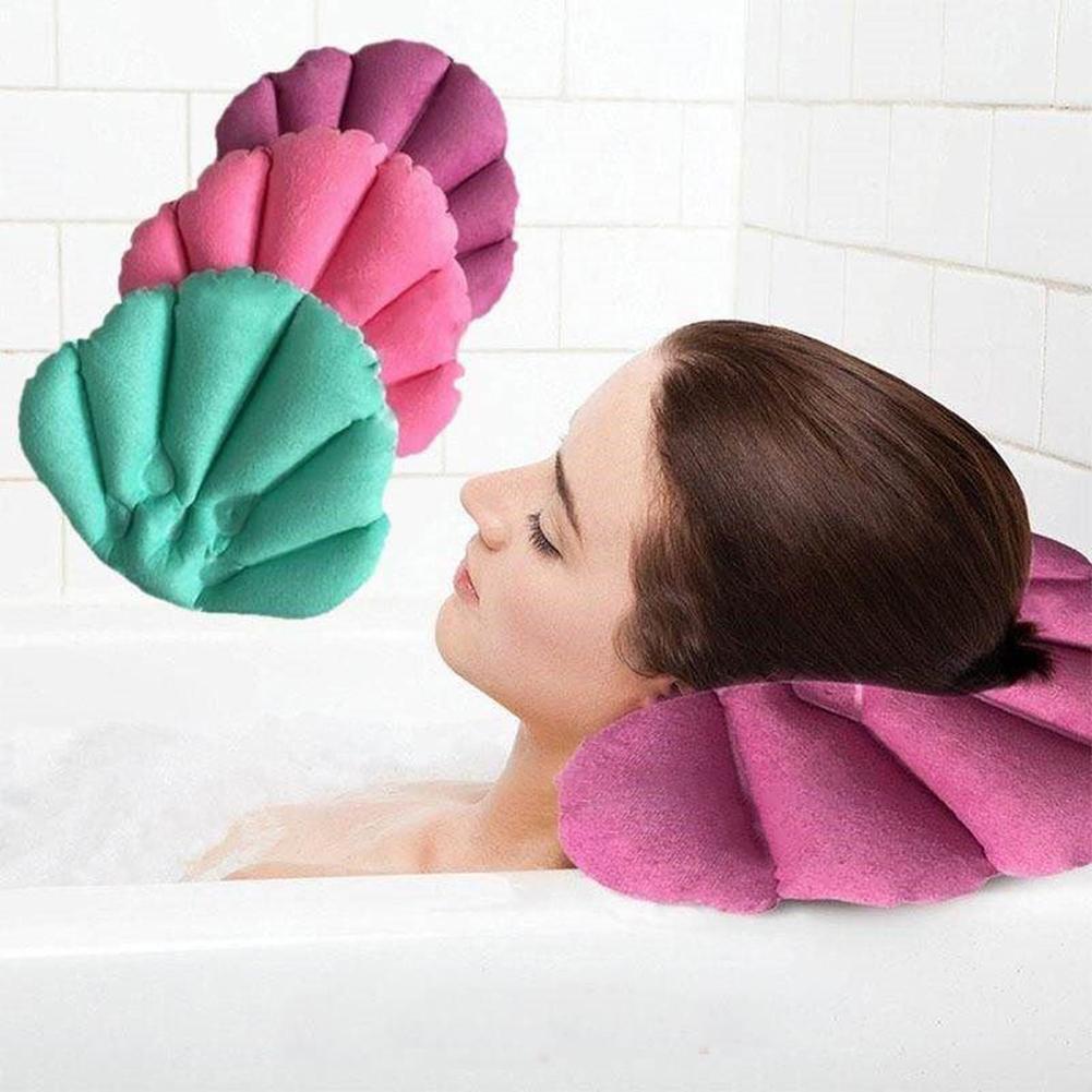 Oreiller de bain avec ventouses tissu éponge gonflable en forme d'éventail cou soutien oreiller doux Spa cou baignoire coussin couleur aléatoire