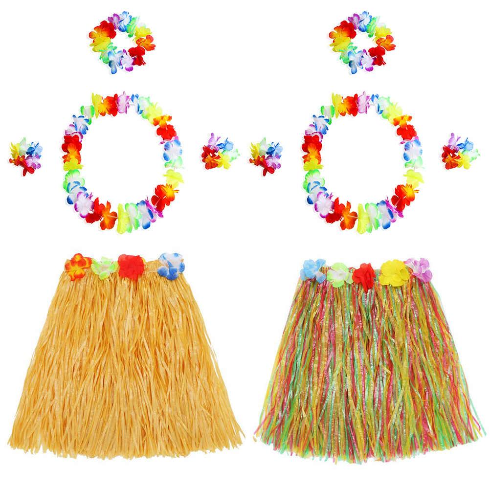 39833bc89753 2 Sets Hawaii Hula Grass Dance Skirt Tropical Flower Bracelets Headband  Necklace Set for Beach Luau