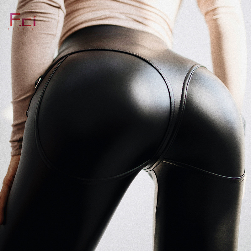 2019 Women Sexy PU leather   Leggings   with Front Zipper Push Up Faux Leather Pants Latex Rubber Pants Jeggings Black