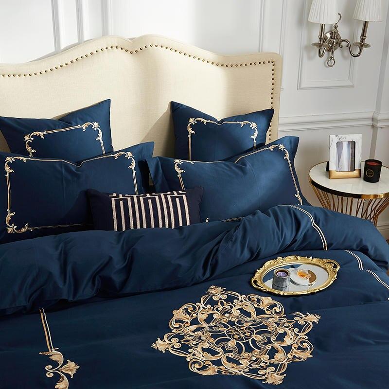 60 S coton égyptien hommage soie luxe Royal ensemble de literie 4 pièces roi reine taille noir drap de lit ensemble housse de couette taies d'oreiller 22 - 3