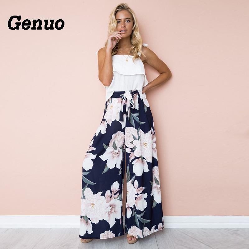 Floral Print   Wide     Leg     Pants   Women Long Casual   Pant   Summer Boho Beach Elastic High Waist Chiffon Trousers