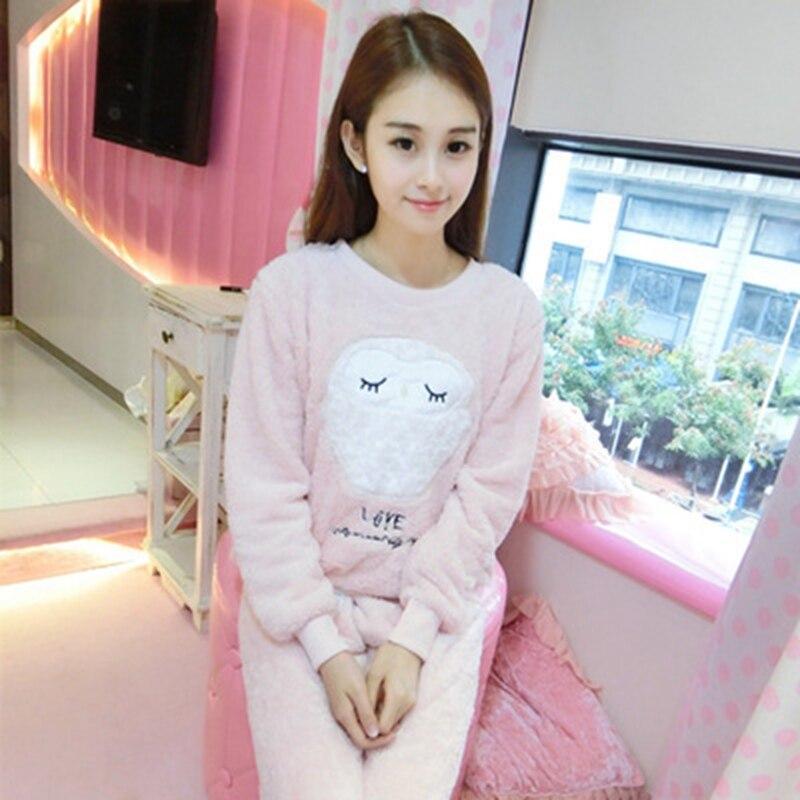 2 PIECE Cartoon owl Nightwear Pijama Home Suit women lingerie Flannel Winter Pyjama Cute Full Length Warm printing   Pajama     Set
