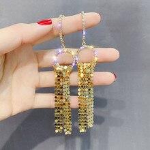 цены FYUAN Long Tassel Drop Earring  for Women Bijoux Gold Silver Color Sequin Dangle Earrings Statement Earrings Jewelry Gifts