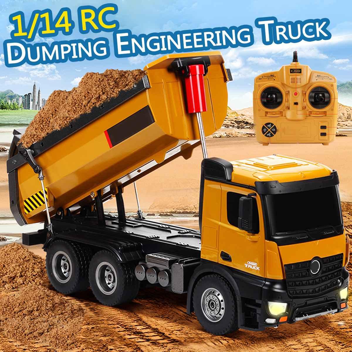 1:14 camion radio-télécommandé 10CH Alliage RC camions benne D'ingénierie Construction Voiture voiture télécommandée Jouet RTR camion radio-télécommandé Cadeau Pour Garçon