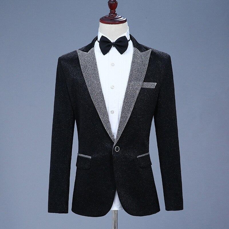 Nieuwe Kleding 2019 Casual Jas Blazer Mannen Glitter Fit Jurk Zwart Grijs Blazers Past Street Dragen Stadium Kostuums Voor Zangers Mens