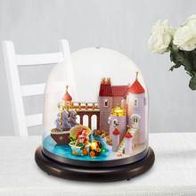 4 LED DIY House Villa and Sea-maid Assemble Transparent Cover Dollhouse for Girl Friend(China)