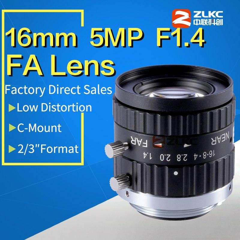 c mount lens 16mm 5 Mega Pixel FA lens 2 3 fixed focal length Industrial camera