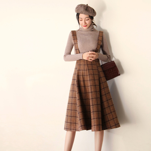 Image 3 - Японский Mori Girl Сарафан осенний корейский модный женский жилет без рукавов Коричневые Клетчатые Шерстяные Зимние платья на бретельках Vestidos