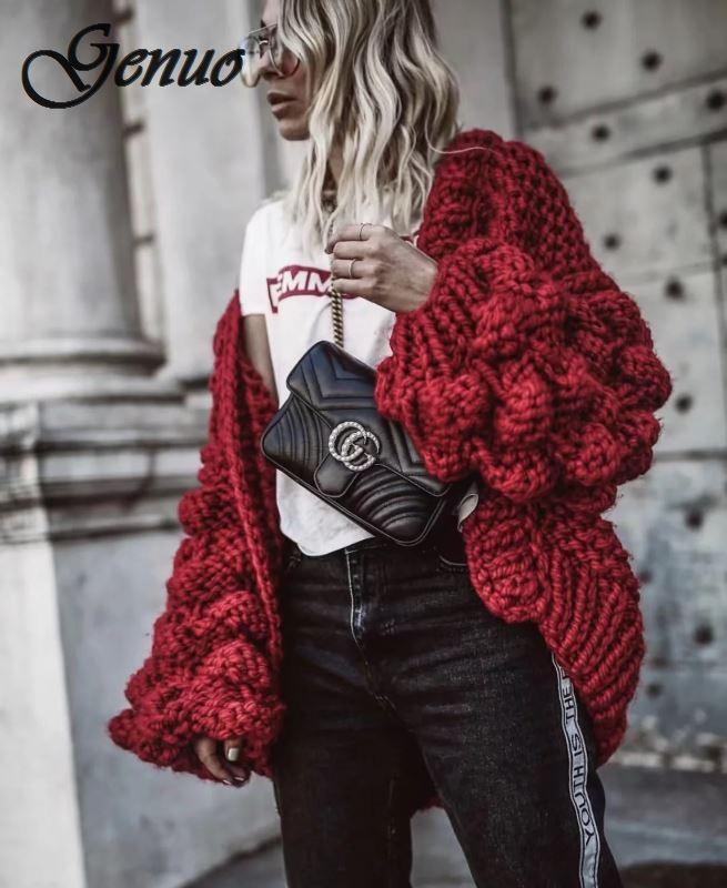 A Mano a Maglia Cardigan Delle Donne di 2019 di Modo di Inverno Cappotto Manica Lunga Cardigan Maglione di Inverno Delle Donne Magliette E Camicette Vestiti Beige - 2