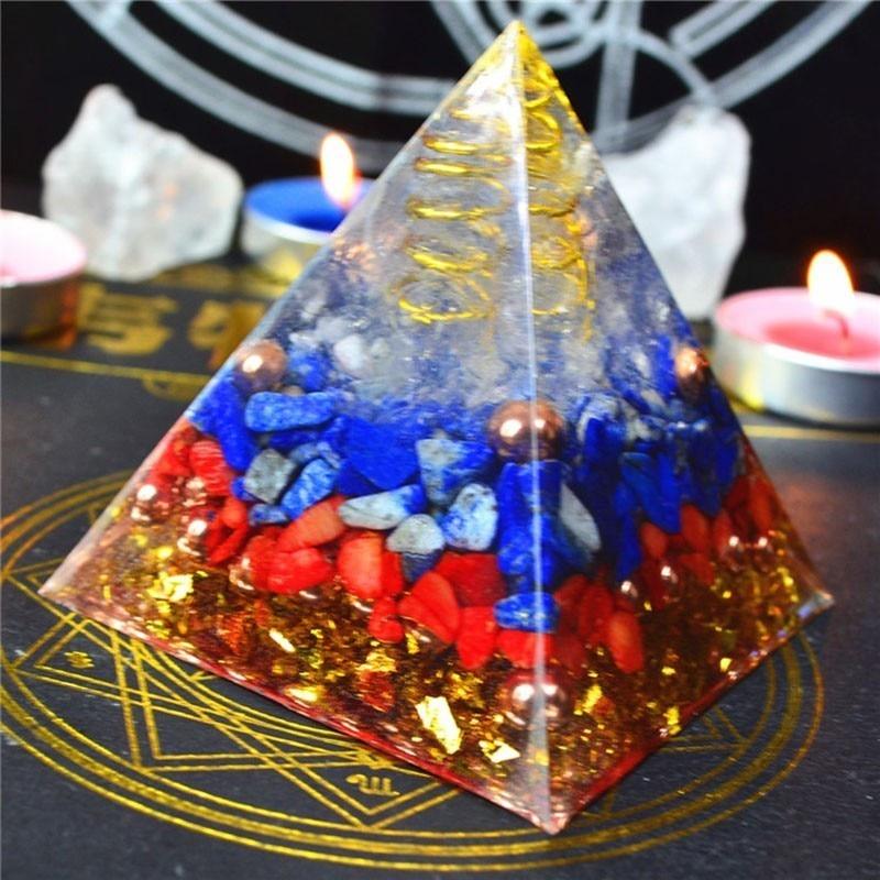 Aura Crystal Orgonite Pyramid Energy Decoration Handmade Resin Decorative Craft Jewelry Bring Good Luck Throat Wheel C0123