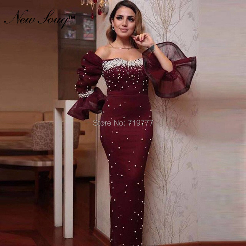 New Arrival Robe De Soiree Beading Pearls Evening Dresses 2019 Middle East Aibye Arabic Prom Dress Dubai Mermaid Party Gowns