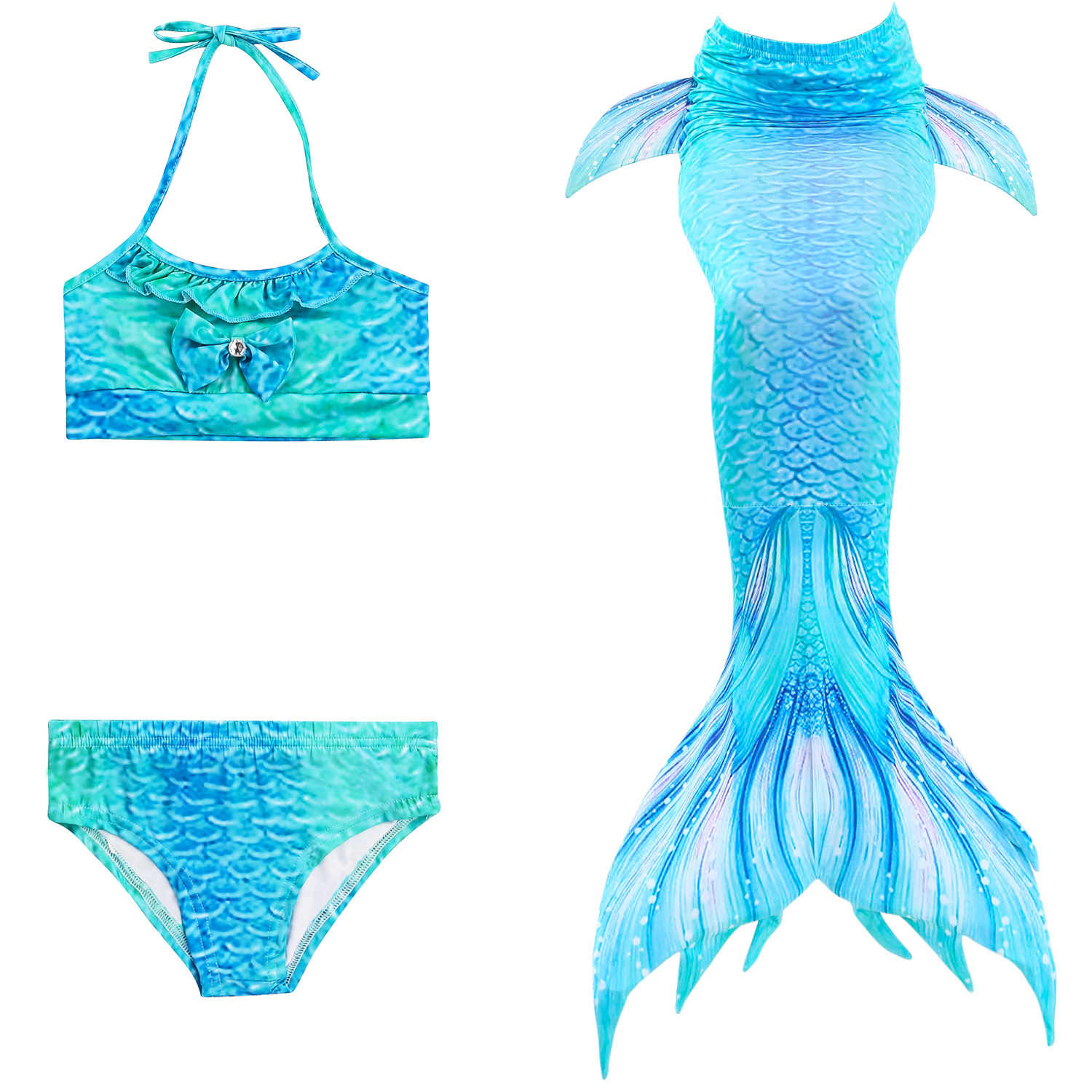 8963e07d648fd ... 3 Pcs Kids Children Mermaid Tail Swimming Costume Bikini Set Swim Dress  Cosplay No Monofin Swimwear ...