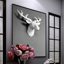 3d / Pet Resin Deer Head Decoration Living Room Wall Pendant Geometric Home Accessories