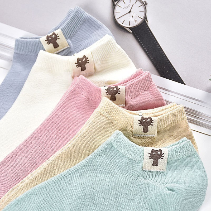 New Product Candy Color Ma'am Boat   Socks   Short Drum Mark   Socks   Pure Cotton Fresh Lovely Student   Socks   TaoBao