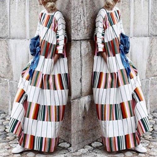 Women's Summer Boho Floral Short Sleeve Long Maxi Dress Party Beach Sundress One