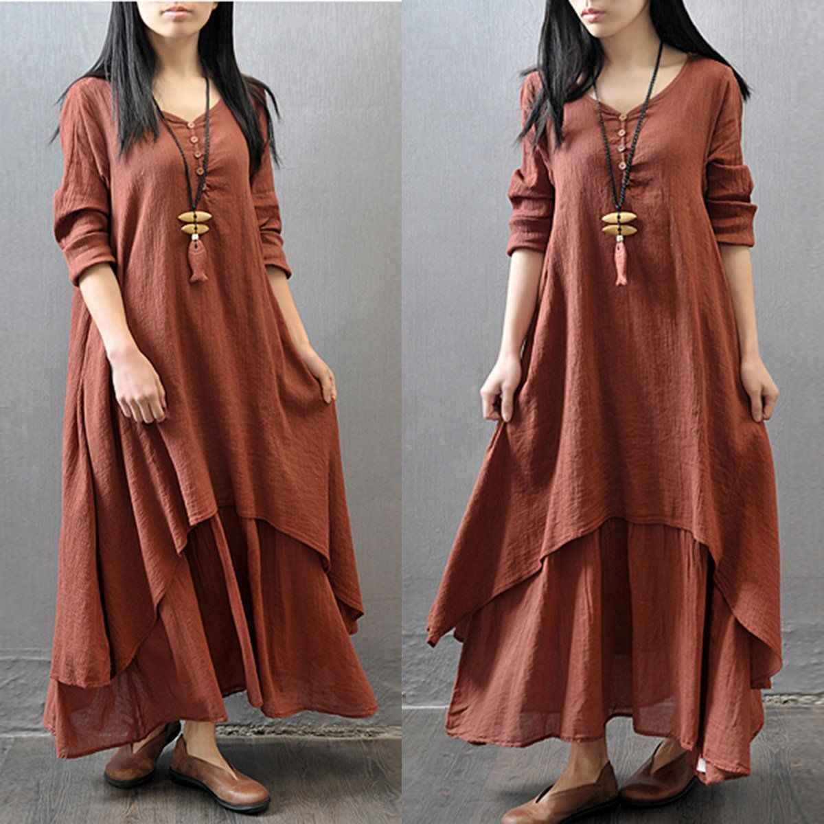 Women Ethnic Boho Cotton Linen Long Sleeve Dress Vintage Elegant Causal Summer Maxi Dresses Women 2019