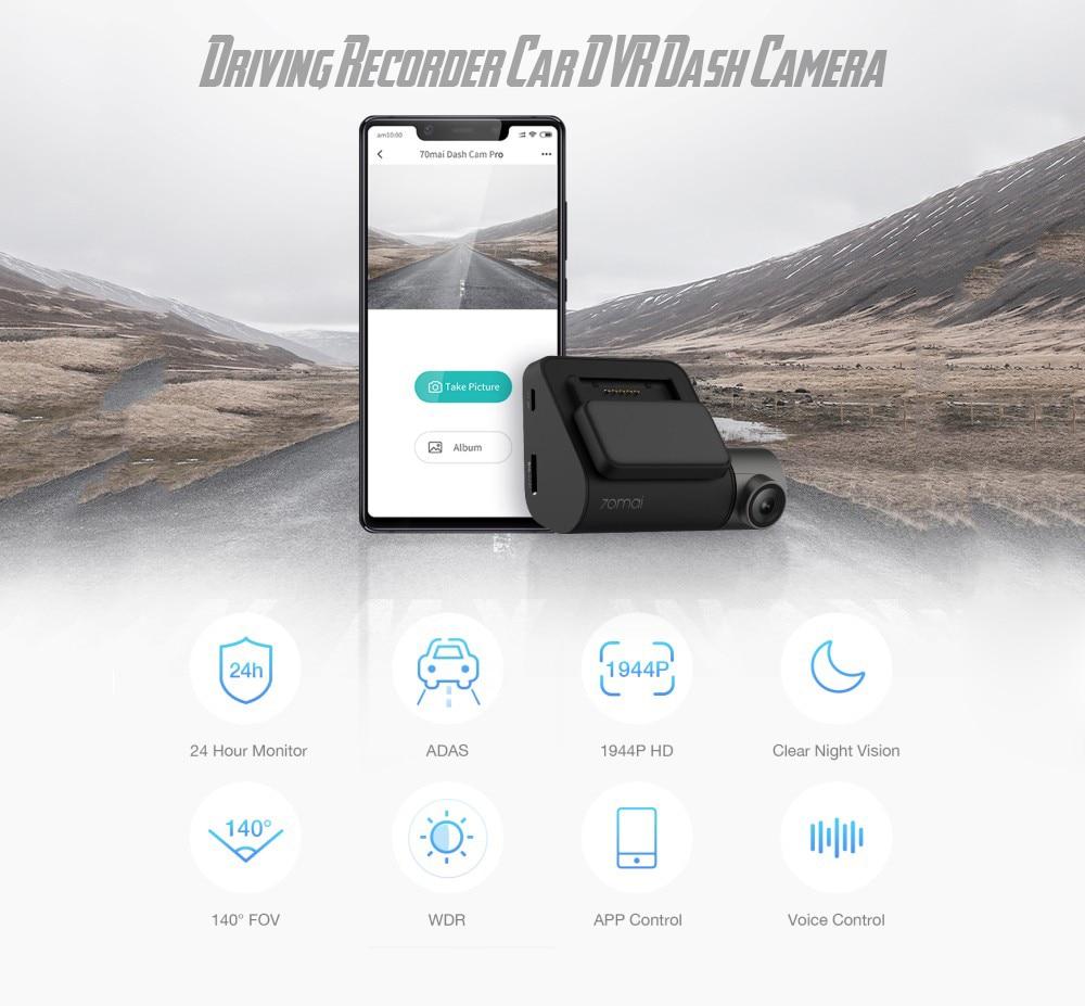 Xiaomi 70Mai dvr de voiture Dash Cam Pro Full HD Wifi Nuit Version Russe Version enregistreur de conduite