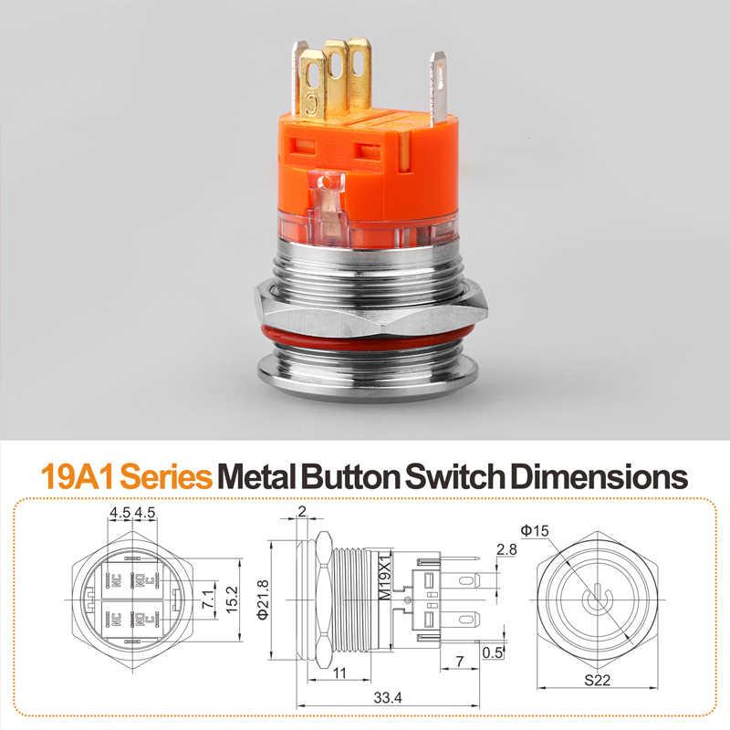 Nuevo Producto 19mm 24V12V220V Led iluminado de acero inoxidable pestillo momentáneo anti-vandalismo impermeable IP67 interruptor de botón de metal