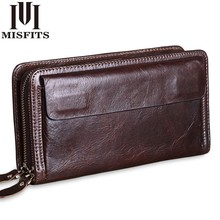 Misfits 소 가죽 남성 클러치 지갑 정품 가죽 긴 지갑 비즈니스 대용량 지갑 더블 지퍼 전화 가방 남성용