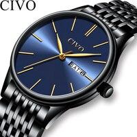 CIVO Новый 2019 Мужские кварцевые аналоговые часы Роскошные модные спортивные наручные часы водостойкие нержавеющей мужской часы Relogio Masculino