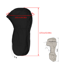 600D Black Full Outboard Engine Boat Cover For 20-30 Hose power Motor Waterproof