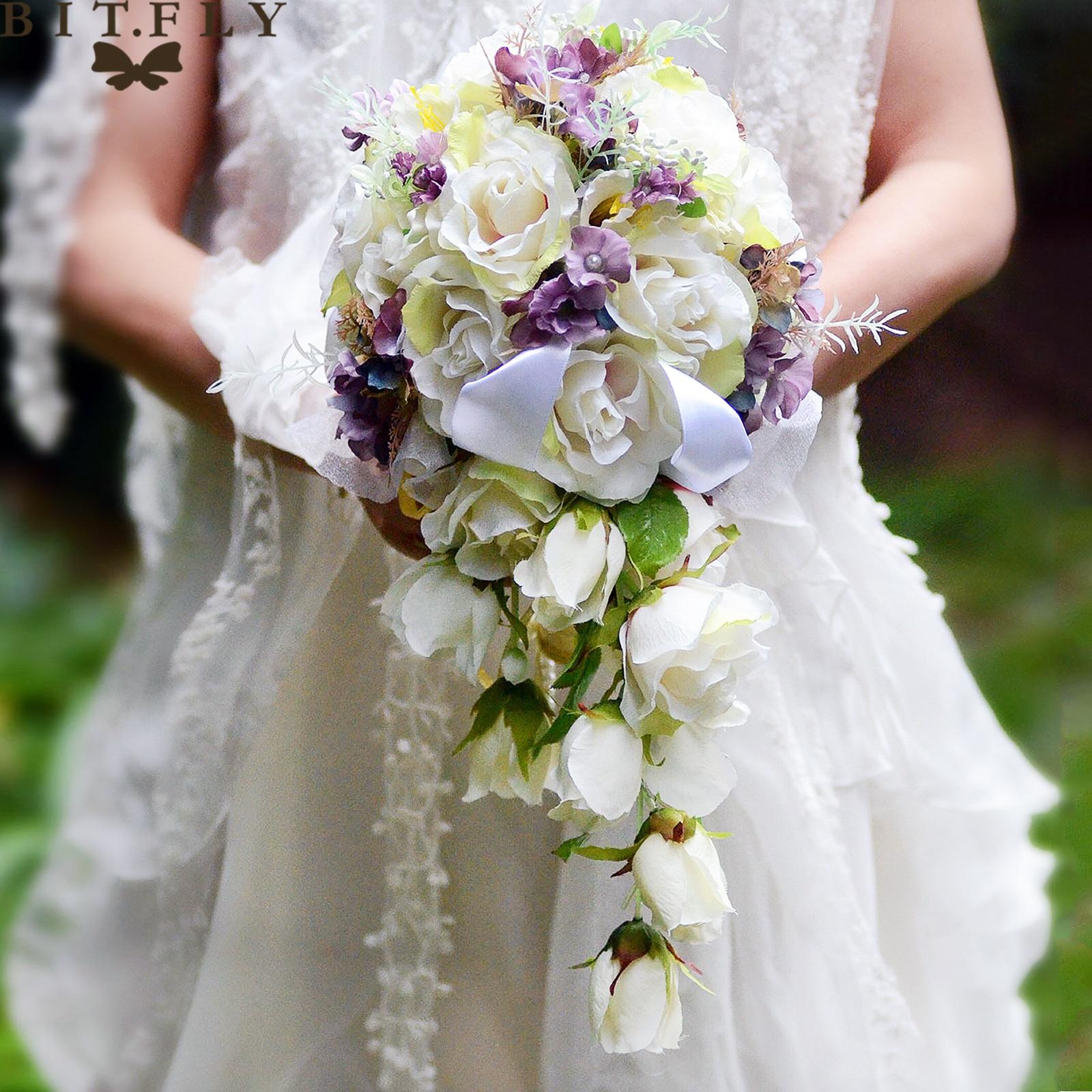 BIT. FLY (32x24x45 cm) décoration de mariage romantique cascade mariée fleur Bouquet soie artificielle nuptiale tenant des fleurs fournitures