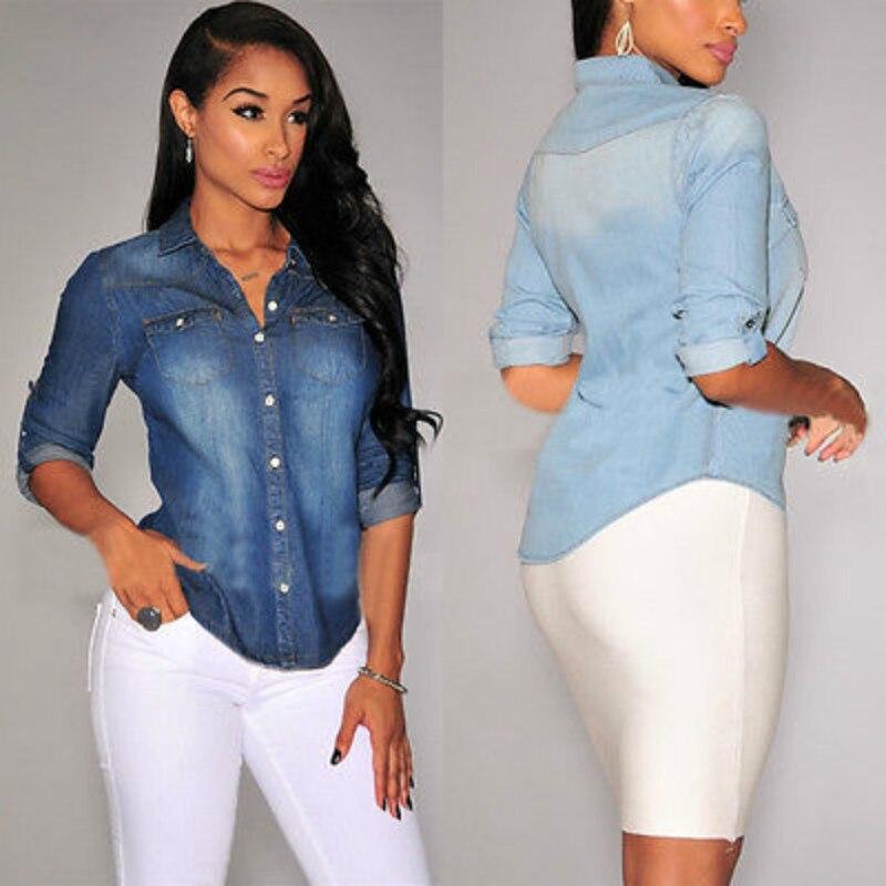 Women Long Sleeve Denim Blouse Casual Office Button Down Shirt  Tops