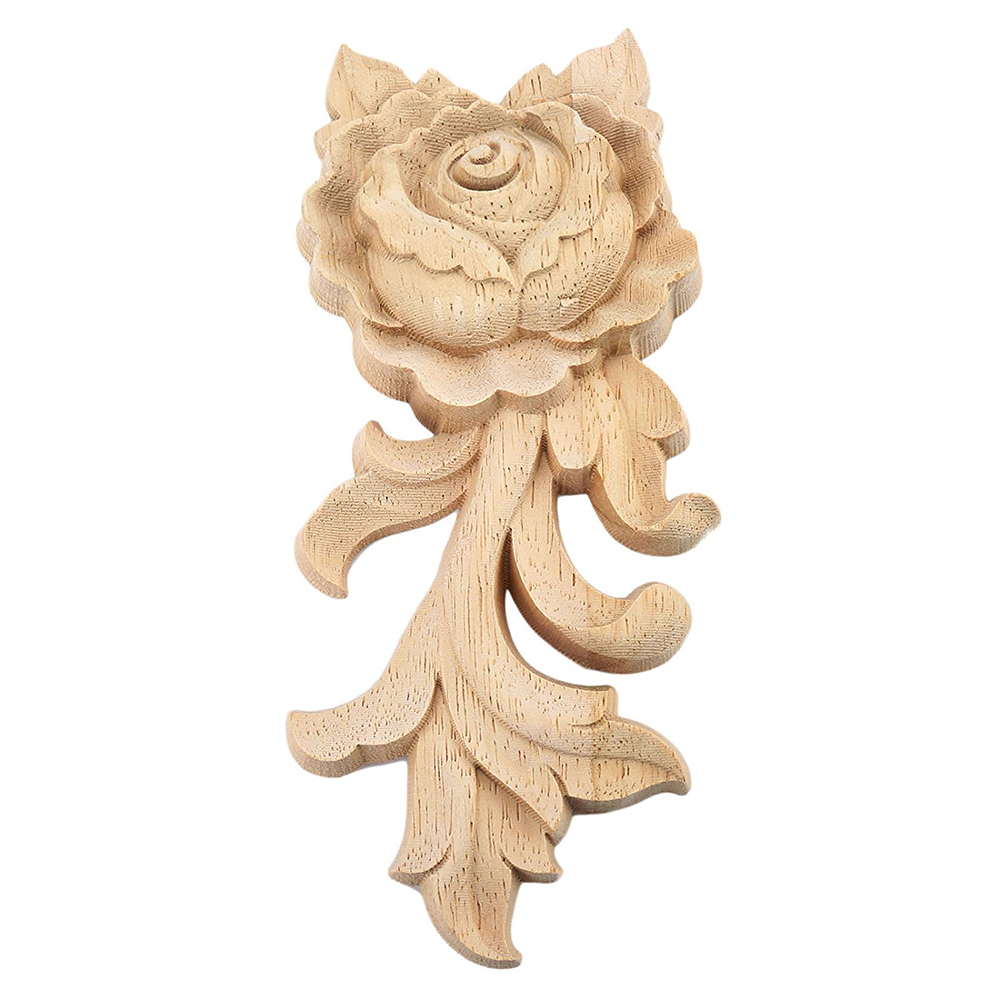 1pc 15*6.5cm Wood Carved Corner Onlay Applique Door Cabinet Rose Unpainted European Style