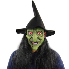Horror Witch Wizard Mask Costume Cosplay Adult Halloween Carnival Purim Performance Party Suit