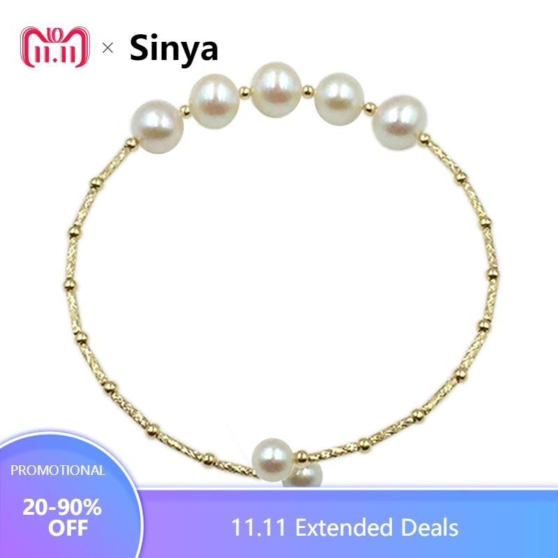 Sinya Naturel perles 18 k or tube Bracelets bracelet pour les femmes fille Maman fille amant longueur environ 17.5 cm perle diamètre 7-8 cm