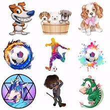 Pulaqi New Iron On Cartoon Dog Animal Patches Heat Thermal Transfer Stickers For Man T-shirt Clothes Garment Accessories H