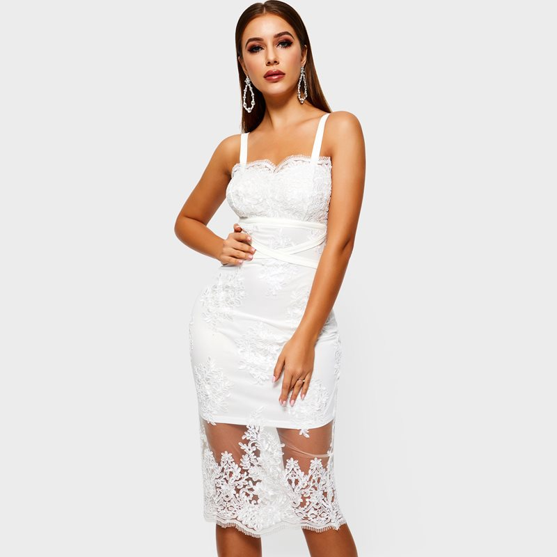 Sexy Bandage Lace Dress Women Solid White Mesh Embroidered
