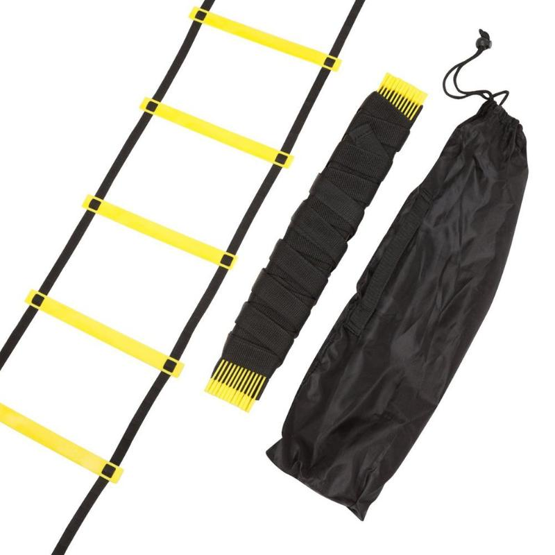 Durable Nylon Straps 11 Rung 18 Feet 6m Agility Ladder For Soccer And Football Speed Training Equipment Adjustable Flat Rungs