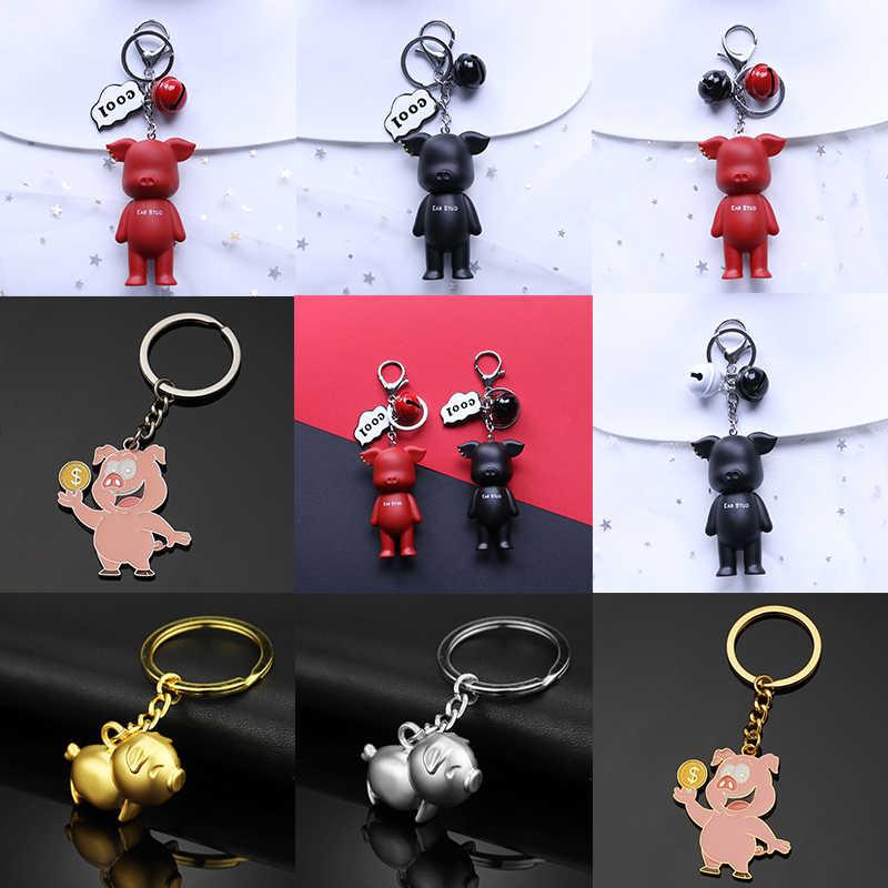 Vàng Động Vật Mát Red Các Cặp Vợ Chồng Móc Chìa Khóa Valentine Món Quà May Mắn Dễ Thương Trung Quốc Zodiac 1 cái Xe Chữ Màu Đen Pig Bạc túi Yêu
