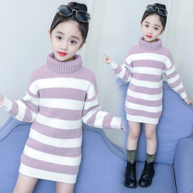 High Neck Knitted Sweater Dress Girl Kid Autumn Winter Long Sleeve Green Pink Striped Knitting Girl Dresses Turtleneck Sweaters high neck button embellished knitted sweater