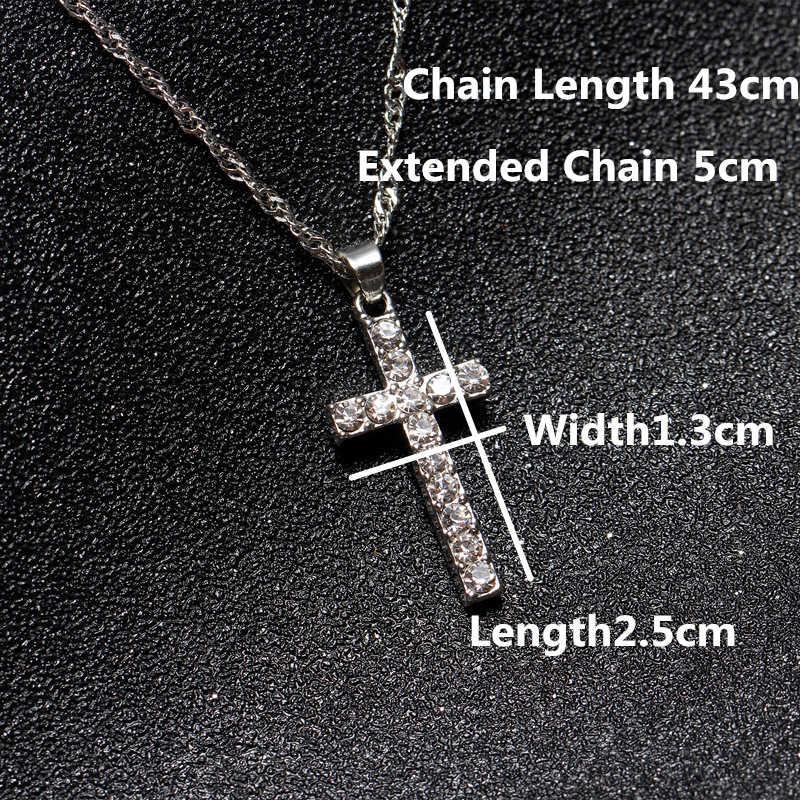 Nowych kobiet biżuteria Hot sprzedaż naszyjnik krzyż wisiorek długi kryształ sweter naszyjnik kobiet akcesoria