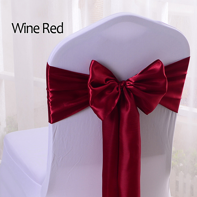 YRYIE 25pcs/lot Wholesale Silk Satin Ribbon Bow Chair Sashes For Banquet Chair Wedding Party Decoration Chair Band
