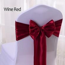 YRYIE 25 unids/lote venta al por mayor cinta de satén de seda lazo silla fajas para banquete silla decoración para fiesta de boda silla banda