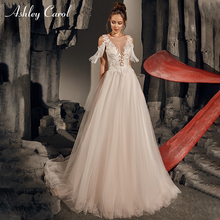 Ashley Carol Beach Wedding Dress 2019 Deep V-neckline Tulle