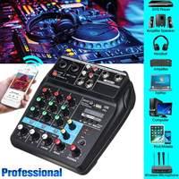 A4 Portable 4 Channels USB bluetooth Audio Mixer Record Live Studio DJ Sound Mixing Console Computer Playback For Karaoke KTV