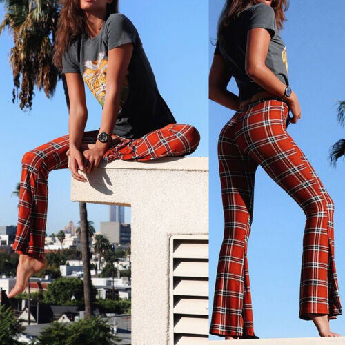 Vintage Plaid Bell-Bottom Trousers 5