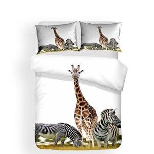 Image 2 - Zestaw pościeli 3D kołdra z nadrukiem pokrywa łóżko – zestaw żyrafa zwierząt tekstylia domowe dla dorosłych realistyczne pościel z poszewka na poduszkę # CJL08