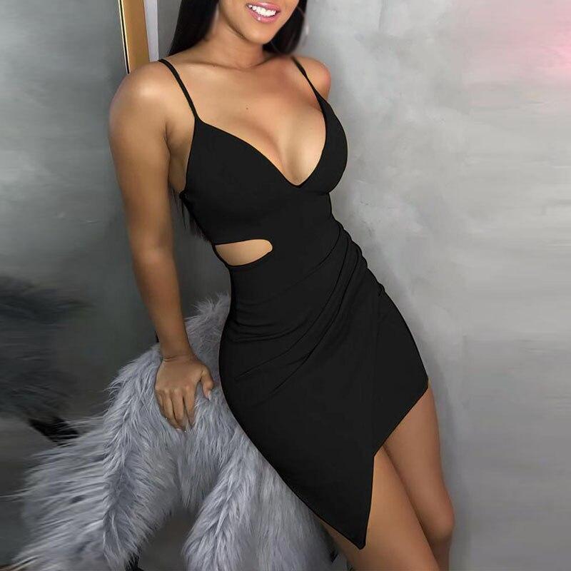 Для женщин облегающее платье Вечеринка Клубная одежда одноцветное Цвет выдалбливают пикантные летние подгонка карандаша мини платья дам