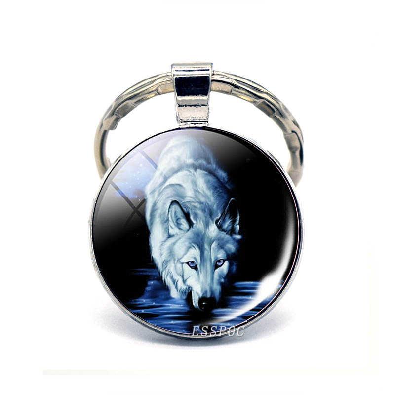 Howling Wolf KeyChain Vintage Handmade Art Key Chain Key Rings Party Gift Wolf Head Jewelry 2019 Fashion