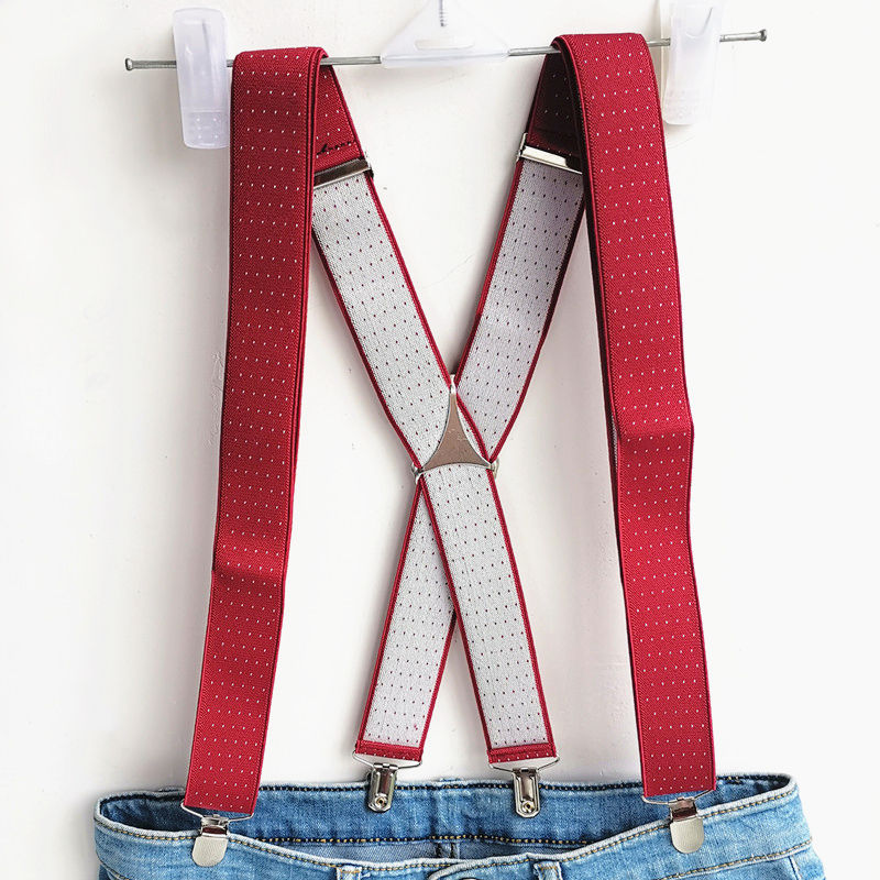 New Jujube Red Color Dot Suspender Adult Men Women Suspenders Adjustable Elastic Custom Size Stay Pant Match Shirt Brace BD059