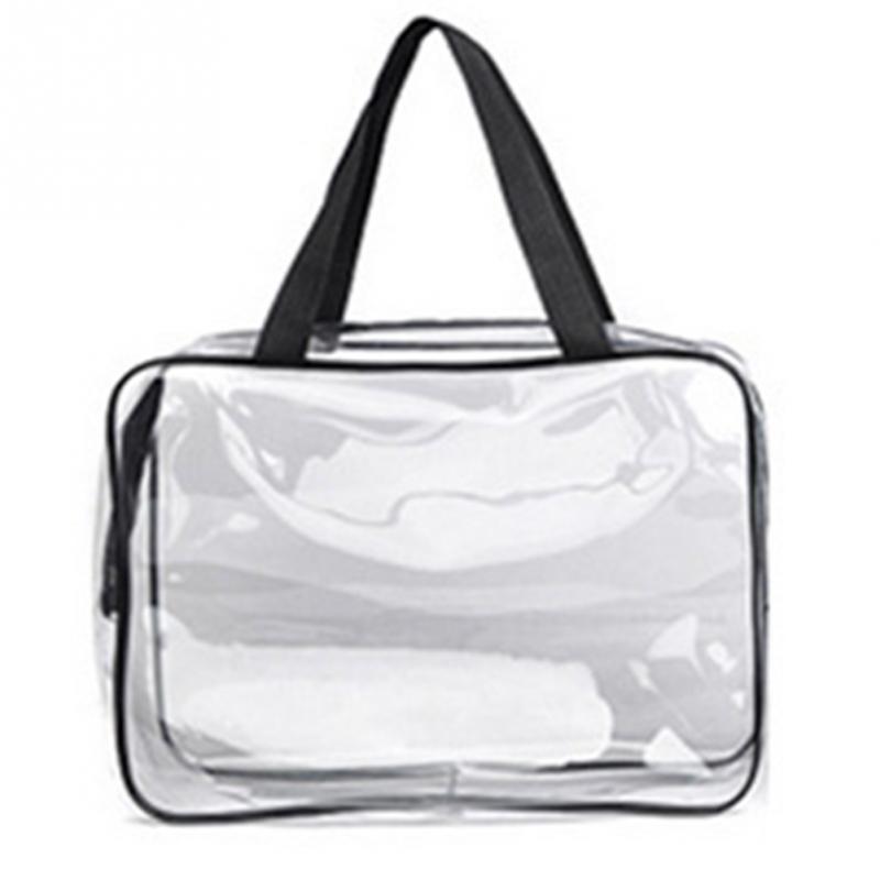 Women's PVC Transparent Cosmetic Bag Waterproof Makeup Bag Travel Toiletry Storage Organizer Bath Wash Tote Case Large Capacity
