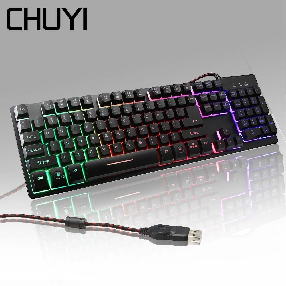 CHUYI Gaming Mechanical Backlight Touch Keyboard USB Wired104 Keys Real RGB LED Anti-Ghosting Metal Gamer Keyboard For Overwatch